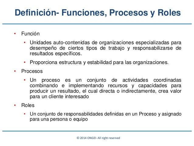 © 2014 ONGEI- All right reserved • Función • Unidades auto-contenidas de organizaciones especializadas para desempeño de c...