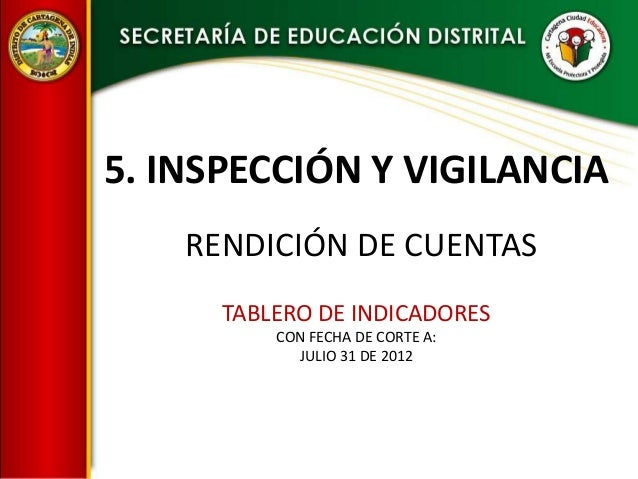 5. INSPECCIÓN Y VIGILANCIA    RENDICIÓN DE CUENTAS      TABLERO DE INDICADORES          CON FECHA DE CORTE A:            J...