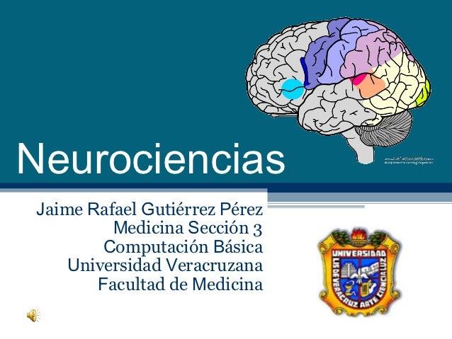 NeurocienciasJaime Rafael Gutiérrez Pérez         Medicina Sección 3        Computación Básica    Universidad Veracruzana ...