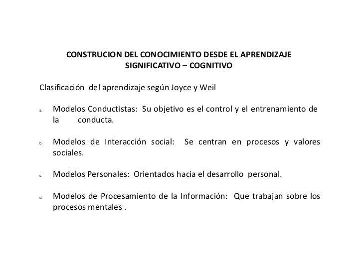 CONSTRUCION DEL CONOCIMIENTO DESDE EL APRENDIZAJE                    SIGNIFICATIVO – COGNITIVOClasificación del aprendizaj...