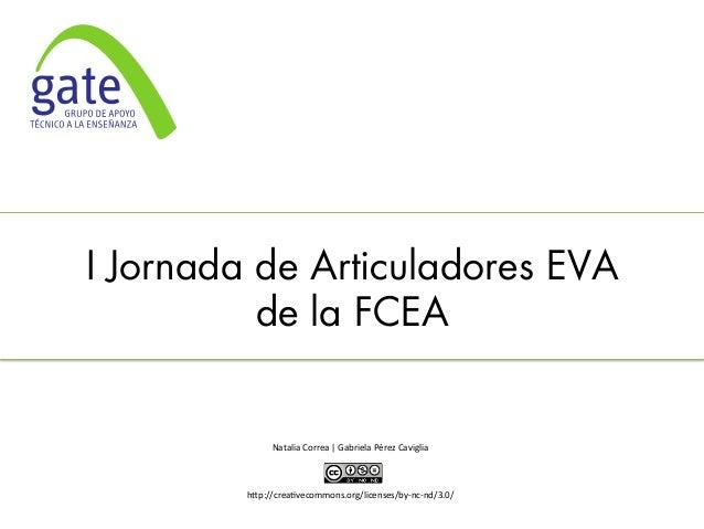 I Jornada de Articuladores EVA de la FCEA       Natalia  Correa  |  Gabriela  Pérez  Caviglia         ...