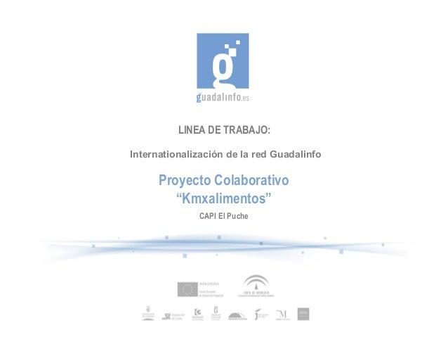 """LINEA DE TRABAJO:Internationalización de la red GuadalinfoProyecto Colaborativo""""Kmxalimentos""""CAPI El Puche"""