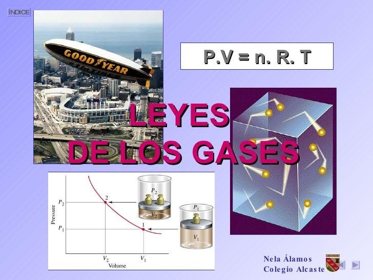 LEYES  DE LOS GASES P.V = n. R. T Nela Álamos Colegio Alcaste