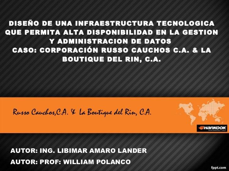 DISEÑO DE UNA INFRAESTRUCTURA TECNOLOGICA QUE PERMITA ALTA DISPONIBILIDAD EN LA GESTION Y ADMINISTRACION DE DATOS  CASO: C...