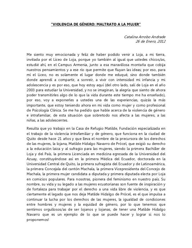"""VIOLENCIA DE GÉNERO: MALTRATO A LA MUJER""                                                          Catalina Arrobo Andrad..."