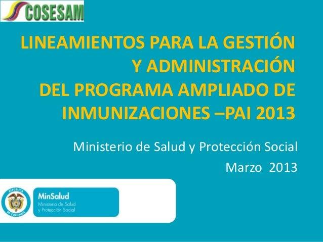 LINEAMIENTOS PARA LA GESTIÓN           Y ADMINISTRACIÓN  DEL PROGRAMA AMPLIADO DE    INMUNIZACIONES –PAI 2013     Minister...