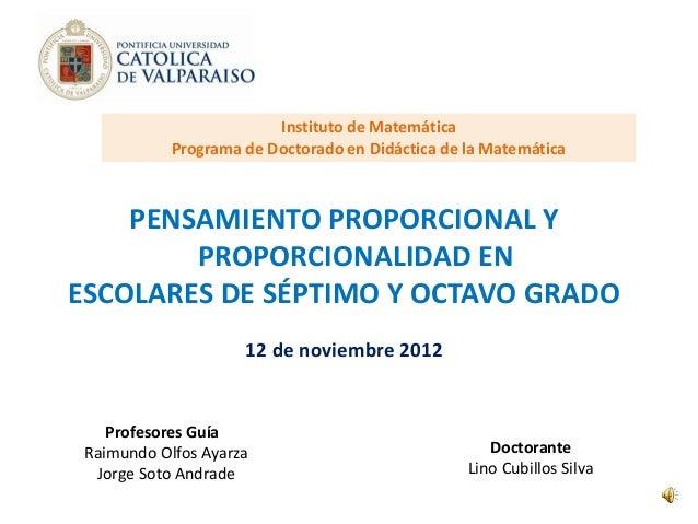 Instituto de Matemática            Programa de Doctorado en Didáctica de la Matemática    PENSAMIENTO PROPORCIONAL Y      ...