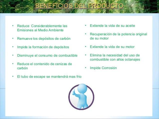 LIQUIDO AHORRADOR COMBUSTIBLE. REDUCE NOTABLEMENTE EMISIONES MEDIO AMBIENTE Slide 2