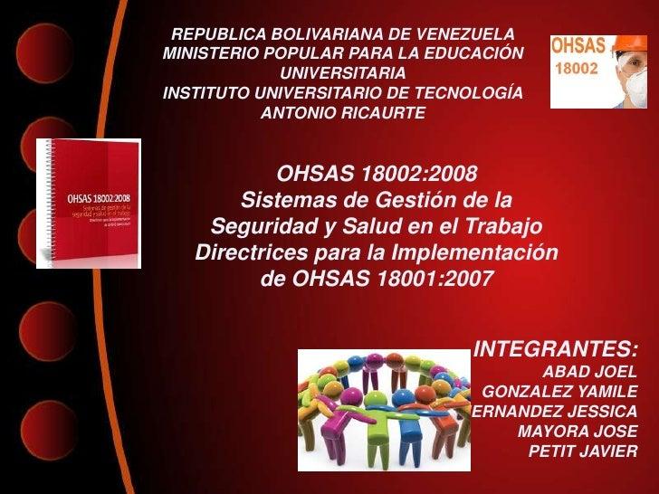 REPUBLICA BOLIVARIANA DE VENEZUELAMINISTERIO POPULAR PARA LA EDUCACIÓN             UNIVERSITARIAINSTITUTO UNIVERSITARIO DE...