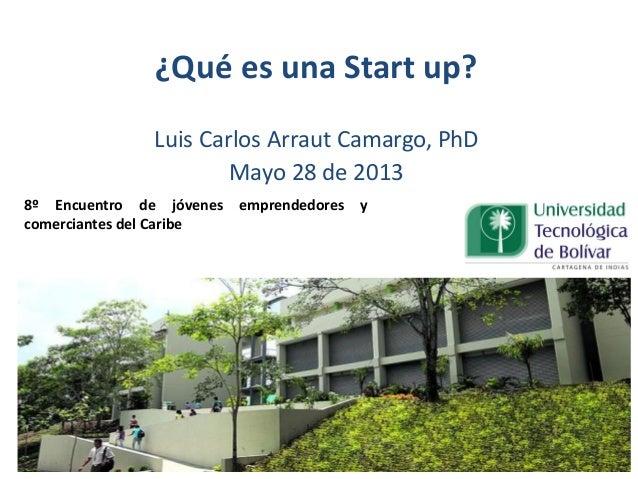 ¿Qué es una Start up?Luis Carlos Arraut Camargo, PhDMayo 28 de 20138º Encuentro de jóvenes emprendedores ycomerciantes del...