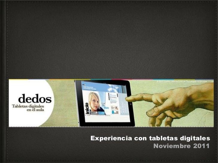 Experiencia con tabletas digitales Noviembre 2011