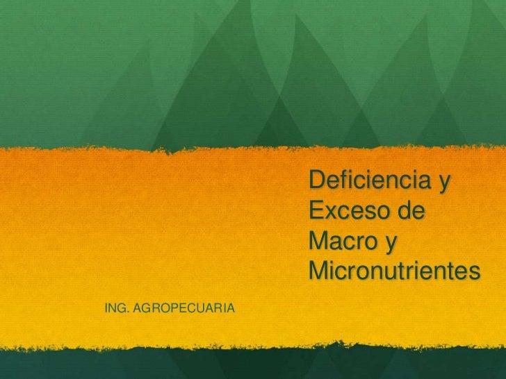 Deficiencia y Exceso de Macro y Micronutrientes<br />ING. AGROPECUARIA<br />