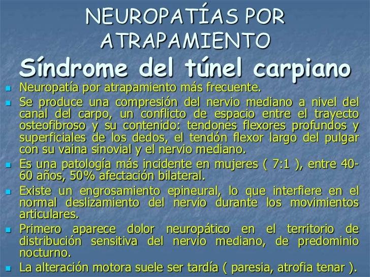 NEUROPATÍAS POR                 ATRAPAMIENTO    Síndrome del túnel carpiano   Neuropatía por atrapamiento más frecuente....