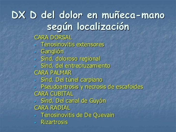 DX D del dolor en muñeca-mano      según localización    CARA DORSAL    • Tenosinovitis extensores    • Ganglión    • Sínd...