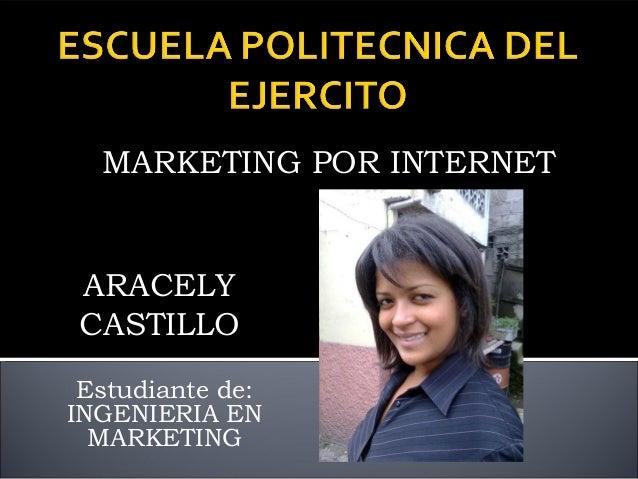 MARKETING POR INTERNETARACELYCASTILLO Estudiante de:INGENIERIA EN  MARKETING