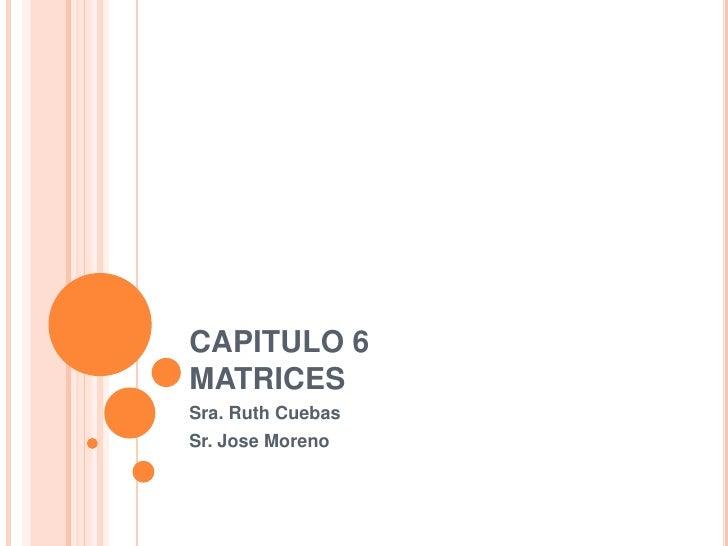 CAPITULO 6MATRICES<br />Sra. Ruth Cuebas<br />Sr. Jose Moreno<br />