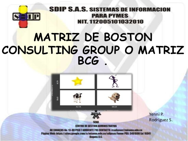 MATRIZ DE BOSTON CONSULTING GROUP O MATRIZ BCG .  Yenni P. Rodríguez S.