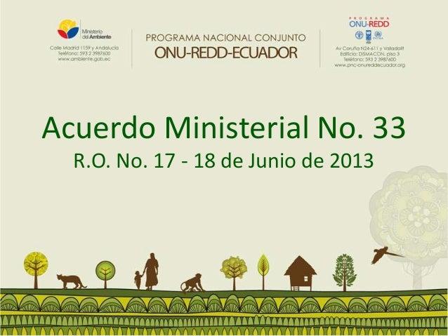 Acuerdo Ministerial No. 33 R.O. No. 17 - 18 de Junio de 2013