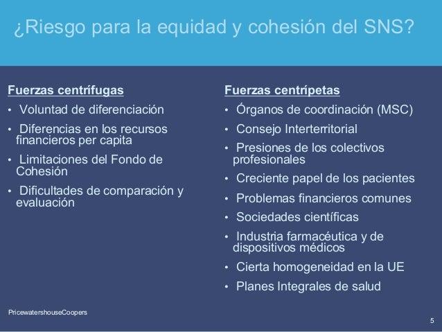 PricewaterhouseCoopers 5 PricewatershouseCoopers ¿Riesgo para la equidad y cohesión del SNS? Fuerzas centrífugas • Volunt...