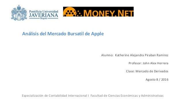 Análisis del Mercado Bursatil de Apple Alumno: Katherine Alejandra Piraban Ramírez Profesor: John Alex Herrera Clase: Merc...