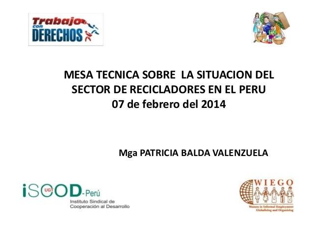 MESA TECNICA SOBRE LA SITUACION DEL SECTOR DE RECICLADORES EN EL PERU 07 de febrero del 2014  Mga PATRICIA BALDA VALENZUEL...