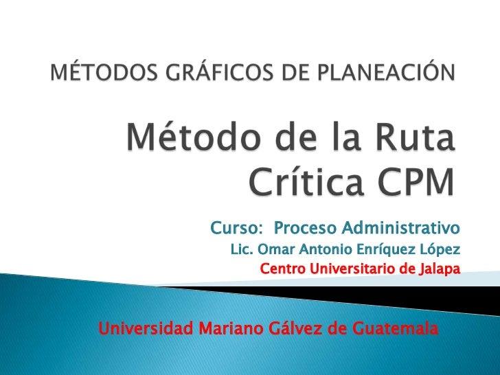 Curso: Proceso Administrativo               Lic. Omar Antonio Enríquez López                    Centro Universitario de Ja...