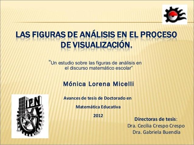 """""""Un estudio sobre las figuras de análisis en       el discurso matemático escolar""""      Mónica Lorena Micelli       Avance..."""