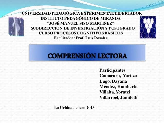 "UNIVERSIDAD PEDAGÒGICA EXPERIMENTAL LIBERTADOR       INSTITUTO PEDAGÓGICO DE MIRANDA          ""JOSÉ MANUEL SISO MARTÍNEZ"" ..."