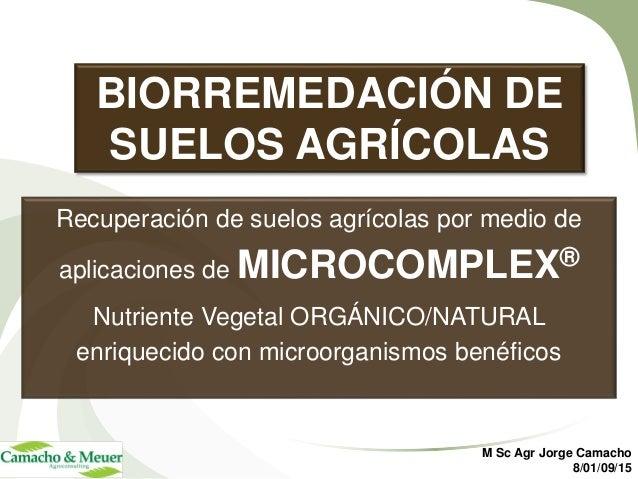BIORREMEDACIÓN DE SUELOS AGRÍCOLAS Recuperación de suelos agrícolas por medio de aplicaciones de MICROCOMPLEX® Nutriente V...