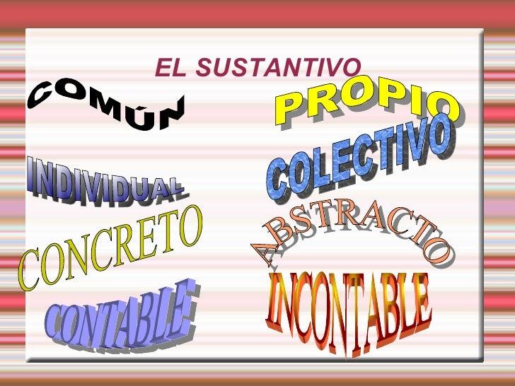 EL SUSTANTIVO COMÚN PROPIO INDIVIDUAL COLECTIVO CONCRETO ABSTRACTO CONTABLE   INCONTABLE