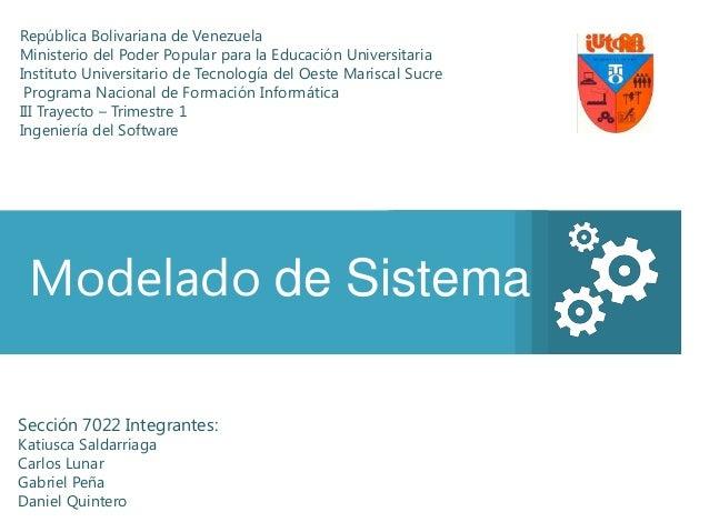 República Bolivariana de VenezuelaMinisterio del Poder Popular para la Educación UniversitariaInstituto Universitario de T...