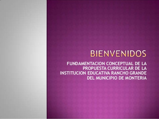 FUNDAMENTACION CONCEPTUAL DE LA          PROPUESTA CURRICULAR DE LAINSTITUCION EDUCATIVA RANCHO GRANDE            DEL MUNI...