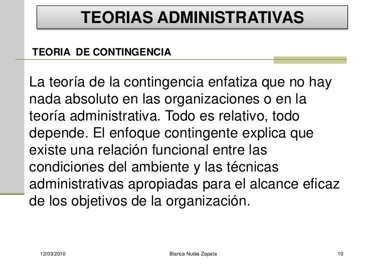 TEORIAS ADMINISTRATIVAS TEORIA DE CONTINGENCIA   La teoría de la contingencia enfatiza que no hay nada absoluto en las org...