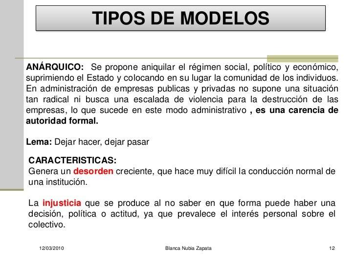 TIPOS DE MODELOS  ANÁRQUICO: Se propone aniquilar el régimen social, político y económico, suprimiendo el Estado y colocan...