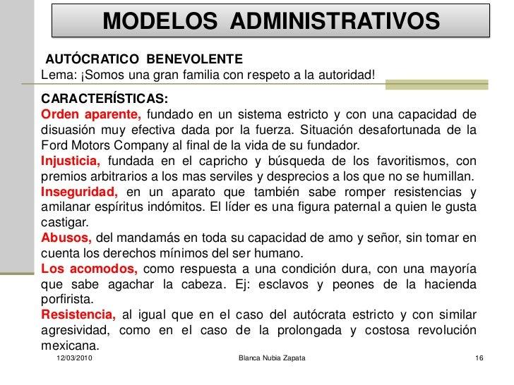 MODELOS ADMINISTRATIVOS  AUTÓCRATICO BENEVOLENTE Lema: ¡Somos una gran familia con respeto a la autoridad! CARACTERÍSTICAS...