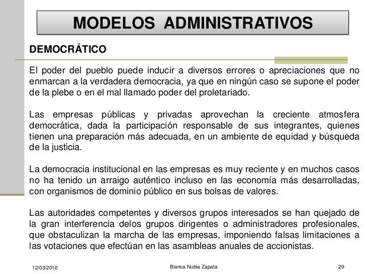 MODELOS ADMINISTRATIVOS DEMOCRÁTICO  El poder del pueblo puede inducir a diversos errores o apreciaciones que no enmarcan ...