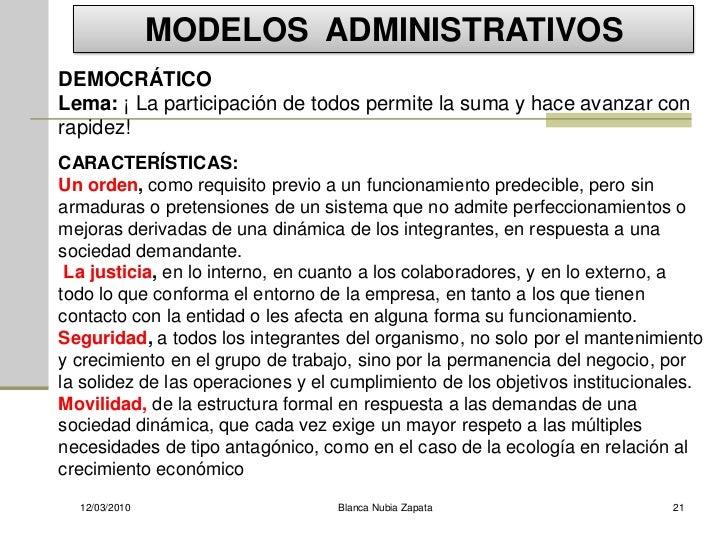 MODELOS ADMINISTRATIVOS DEMOCRÁTICO Lema: ¡ La participación de todos permite la suma y hace avanzar con rapidez! CARACTER...