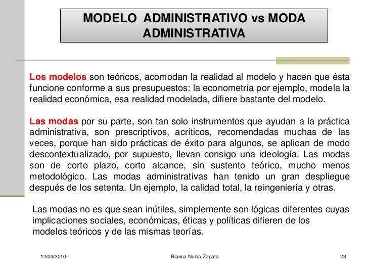 MODELO ADMINISTRATIVO vs MODA                       ADMINISTRATIVA   Los modelos son teóricos, acomodan la realidad al mod...