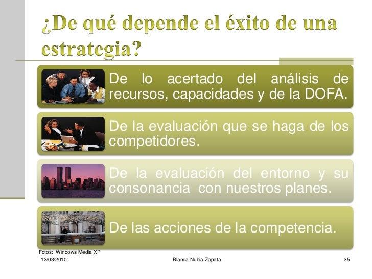 De lo acertado del análisis de                           recursos, capacidades y de la DOFA.                            De...