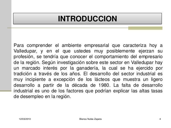 INTRODUCCION   Para comprender el ambiente empresarial que caracteriza hoy a Valledupar, y en el que ustedes muy posibleme...