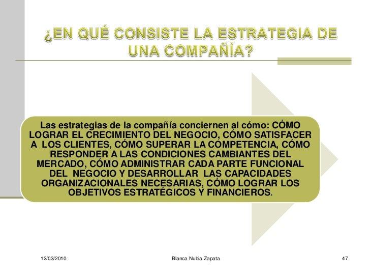 Las estrategias de la compañía conciernen al cómo: CÓMO LOGRAR EL CRECIMIENTO DEL NEGOCIO, CÓMO SATISFACER A LOS CLIENTES,...