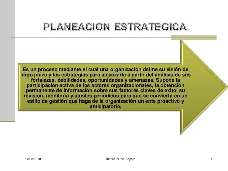 Es un proceso mediante el cual una organización define su visión de largo plazo y las estrategias para alcanzarla a partir...
