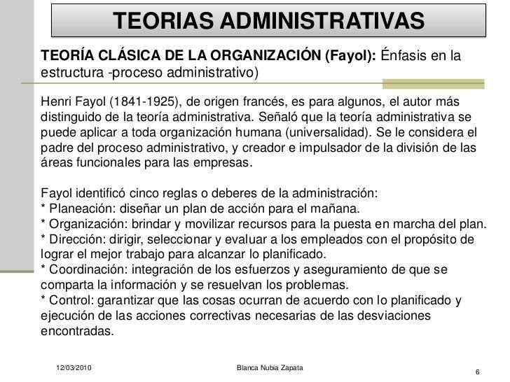 TEORIAS ADMINISTRATIVAS TEORÍA CLÁSICA DE LA ORGANIZACIÓN (Fayol): Énfasis en la estructura -proceso administrativo)  Henr...