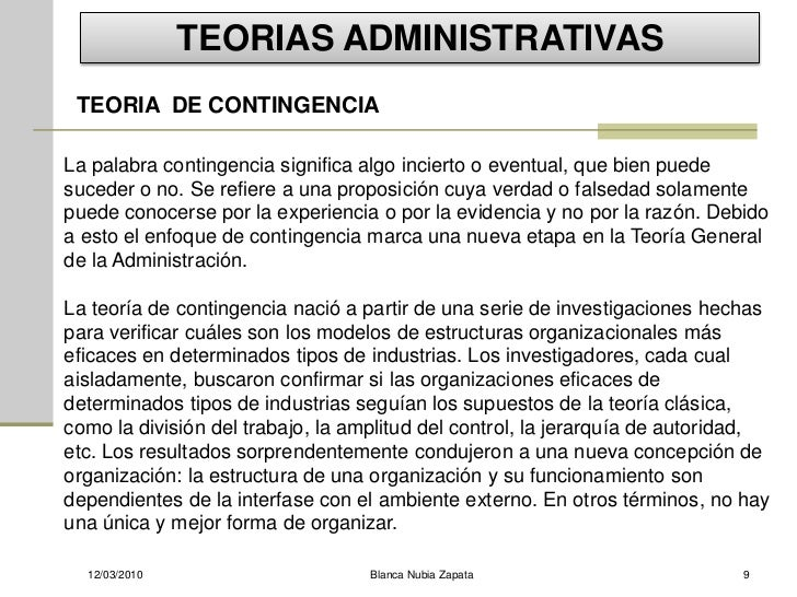 TEORIAS ADMINISTRATIVAS  TEORIA DE CONTINGENCIA  La palabra contingencia significa algo incierto o eventual, que bien pued...
