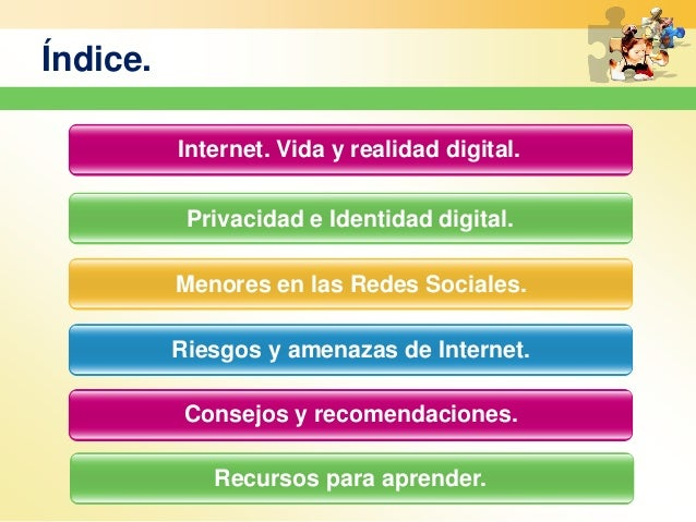 Índice. Privacidad e Identidad digital. Menores en las Redes Sociales. Riesgos y amenazas de Internet. Consejos y recomend...