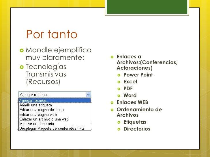 Por tanto Moodle  ejemplifica  muy claramente:          Enlaces a                            Archivos:(Conferencias, Te...