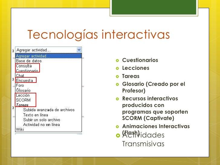 Tecnologías interactivas                 Cuestionarios                 Lecciones                 Tareas               ...