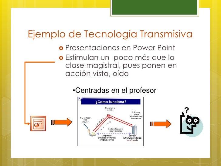 Ejemplo de Tecnología Transmisiva       Presentaciones   en Power Point       Estimulan un poco más que la        clase ...