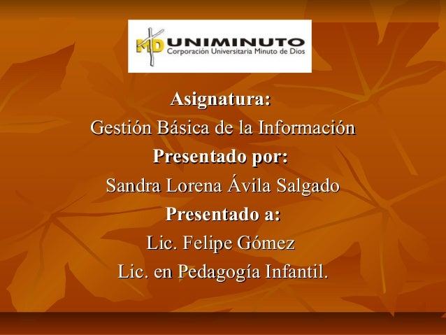 Asignatura:Gestión Básica de la Información        Presentado por: Sandra Lorena Ávila Salgado         Presentado a:      ...