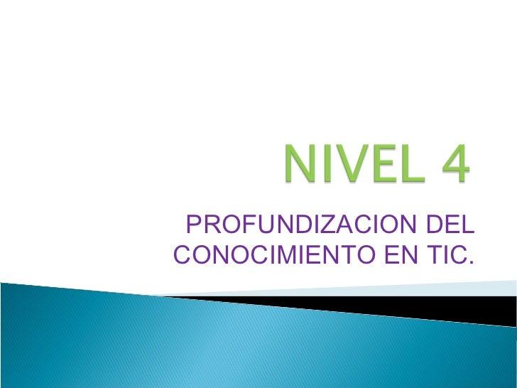 PROFUNDIZACION DELCONOCIMIENTO EN TIC.